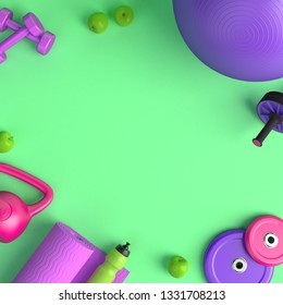 3d-illustration of the concept of female training. Fitness ball, weight, dumbbells, water bottle, jump rope, yoga mat, roller, apples. 3d-render.