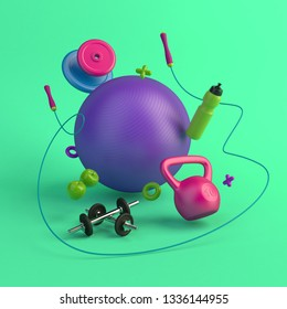 3d-illustration of the concept of female training. Fitness ball, weight, dumbbells, water bottle, jump rope, apples. Green background. 3d-render.
