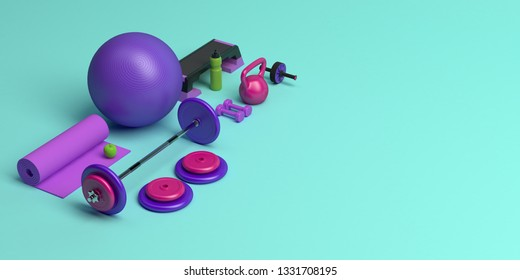 3d-illustration concept of female training gym workout equipment . Fitness ball, weight, dumbbells, water bottle, yoga mat, step platform, apple.