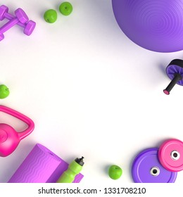 3d-illustration concept of female training workout. Fitness ball, weight, dumbbells, water bottle, jump rope, yoga mat, roller, apples. 3d-render.