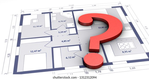 3D-illustration, Construction issues, construction sketch with question mark symbol