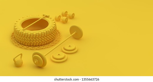 3d-illustration fitness equipment yellow color with copy space for your text.