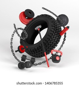 3d-illustration of fitness workout equipment on white background. Tire, sledgehammer, weight, dumbbell, bottle, chain, med ball.