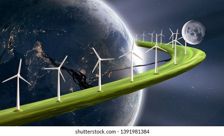 3D-illustration of future sustainable energy concept, wind turbines generating electricity on planetary ring around earth