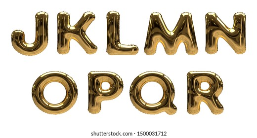 3D-Illustration of gold Foil Helium Balloon Alphabet Letters J, K, L, M, N, O, P, Q, R isolated on a white background
