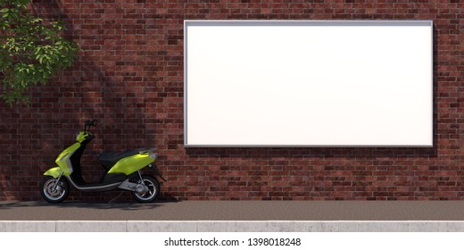 3d-illustration horozontal blank advertising billboard on brick wall