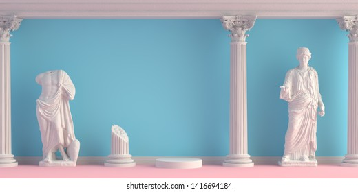 3d-illustration of interior with antique statues and columns. Background for product presentation.