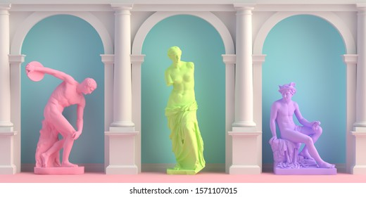 3d-illustration of interior with antique statues Discobolus, Aphrodite, Hermes