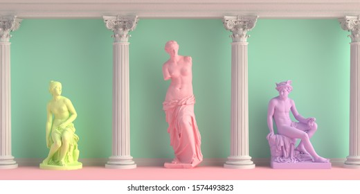 3d-illustration of interior with antique statues Discobolus, Venus, nymph. 3d-render.
