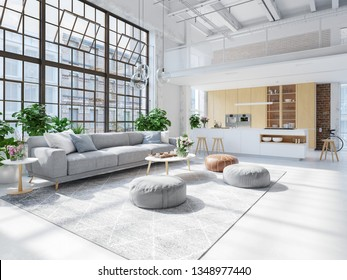 3D-Illustration. loft apartment with living room and kitchen.