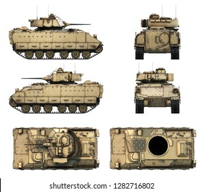 3d-illustration of M2A2 Bradley - US Army Infantry Fighting Vehicle. Five views of detail