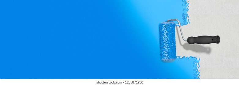 3D-illustration, painting grey wall with blue color