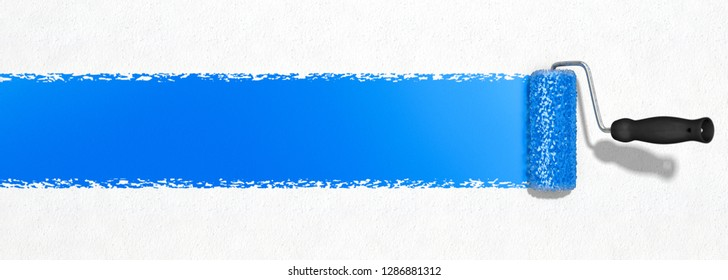 3D-illustration, painting a wall with a blue color strip
