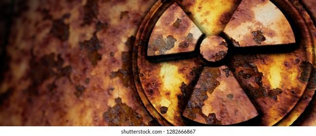 3D-illustration rusted radioactive symbol
