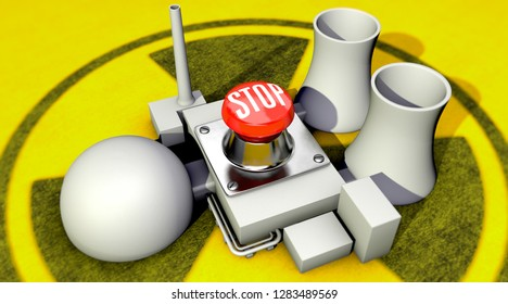 3D-illustration, switch off nuclear power plant