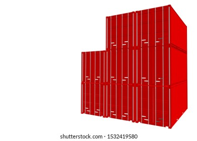 3D-Illustration transport container on white background