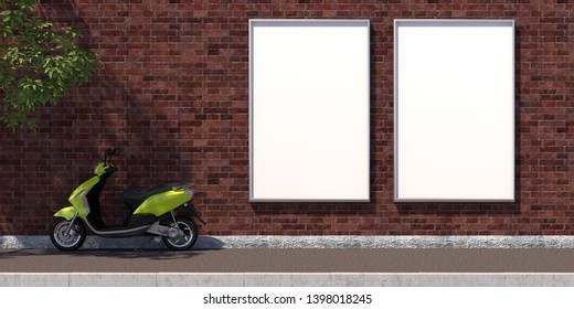 3d-illustration two vertical blank advertising billboard on brick wall
