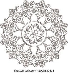 3D-image grey beige marble central  openwork ornament for ceiling decoration