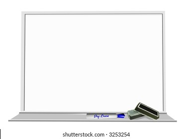 3D-render of dry-erase whiteboard with marker and erasers - blank board for applying your own text or message.