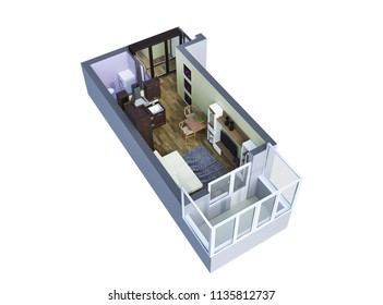 3d-render of top plan living interior with  furniture