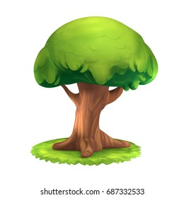 3D-rendering of a cartoon magic oak tree on a white background