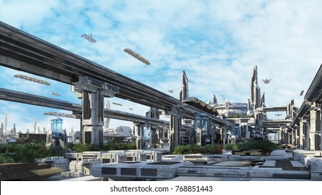 3D-Rendering City of the Future with Air-Ship and Sky Train