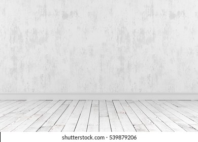 3D-rendering of an empty room with a wooden floor and the rough gray wall stands for advertising.