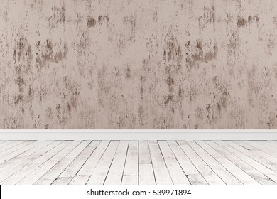3D-rendering of an empty room with a wooden floor and the rough painted wall stands for advertising