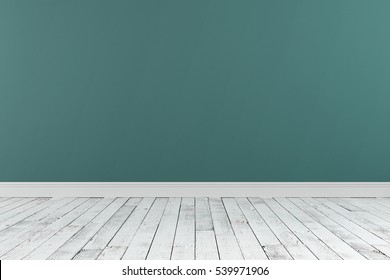 3D-rendering of an empty room with a wooden floor and the painted wall stands for advertising