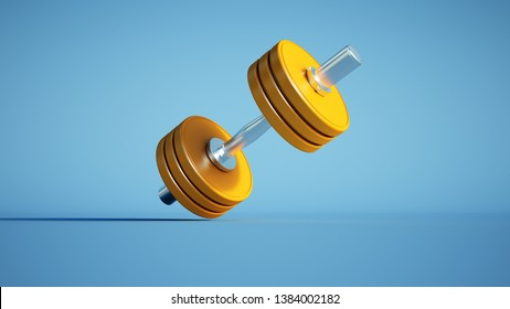 3D-rendering of a yellow dumbbell against a blue background