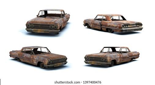 3d-renders of burnt muscle car