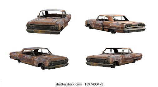 3d-renders of burnt muscle car without shadows