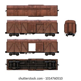 3d-renders of cargo railroad car (boxcar)