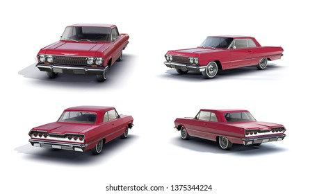 3d-renders of retro muscle car Chevrolet Impala 1963. 20 April, 2019