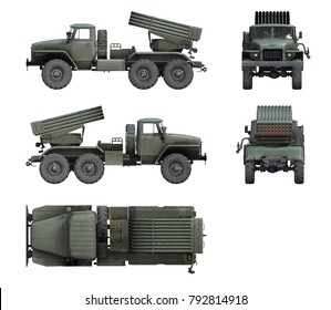 3d-renders of Soviet military vehicle BM-21 Grad
