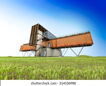3Ds render of container office building, black and white ,Blue sky