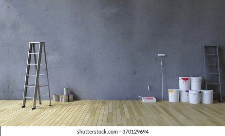 3Ds rendered image of a blank cracked concrete wall and wooden floor, Ladder and painting tools and color cans on the floor