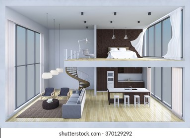 3Ds rendered image of double space apartment in living box,White fabric curtains being blown by wind, perspective view in day light