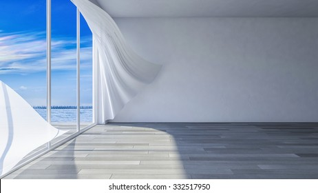 3ds rendered image of seaside room i, White fabric curtains being blown by wind from the sea, wooden floor and cracked concrete wall