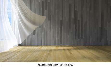 3ds rendered image of seaside room , White fabric curtains being blown by wind from the sea, wooden wall and floor