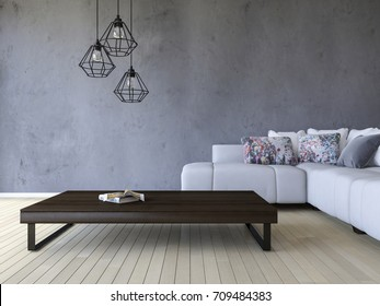 3ds rendering image of white sofa and wooden table place on timber floor which have cracked concrete wall as background.  Modern hanging lamps over the book on the wooden table