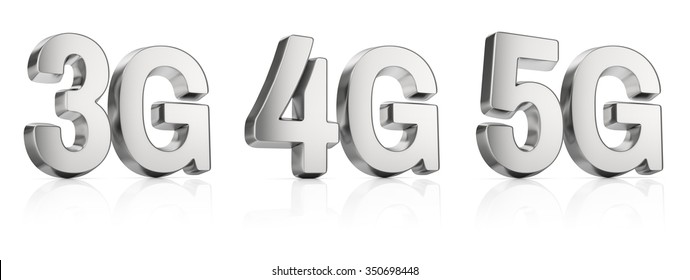 3G, 4G, and 5G sign, metal letters isolated on white background