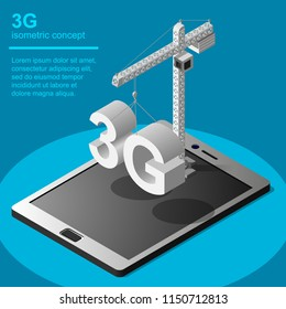 3G broadband cellular network technology installation  icon. Isometric concept includes tablet, tower crane and 3G symbol.