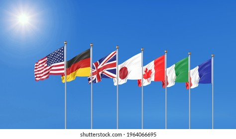 3G7 flags of countries of Group of Seven : Canada, USA states, Germany, Italy, France, Japan. G7 summit 11–13 June 2021 in the United Kingdom. Big Seven. D illustration.