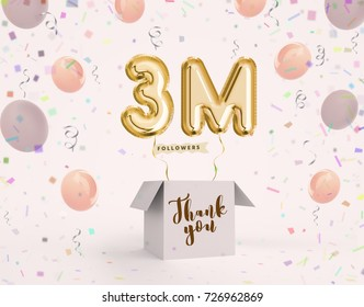 3m, 3 million celebration like or follower with Gold balloons & confetti. 3D illustration for Celebrate or Thank you followers, friends, web user, subscribers on Social Network reach 9000000 followers