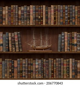 3of15 Old books seamless texture (vertically and horizontally). Tiled Bookshelf Background. Also tiled with other 15 textures from same pack in my gallery.