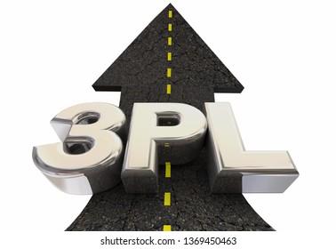 3PL Third Party Logistics Company Service Road Arrow 3d Illustration