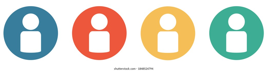 4 colorful Buttons blue, red, orange and green showing: Person, Account or User
