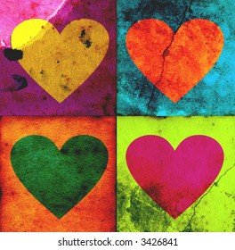 4 colorful grunge hearts - valentine card