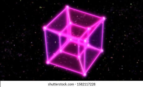 4 Dimensional Hypercube Tesseract Rotating in Outer Space and Stars - Abstract Background Texture